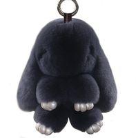 Keychains 2021 Mini Keychain Cute Fluffy 18cm Pompom Key Ring Pom Toy Doll Bag Charm Car Holder