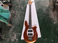 送料無料音楽ボンゴ4文字列ベースギター、メタリックオレンジ、24フレット、ムーンパールインレイ、HHピックアップ、クロムボタン、アクティブバッテリー