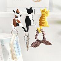 Hooks & Rails Cartoon Cat Dog Pattern Magnetic Wall Mount Key Refrigerator Sticker Fridge Magnet Hanging Hook Home Door Decoration