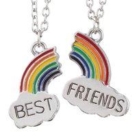 Mejor amigo Collar 2 PCS Esmalte Puzzle Rainbow Cloud Colgante Collar BFF BFF Joyería de amistad Regalo para Mujeres Collares de Hombres