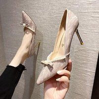 Dress Shoes High Heels Pointed Toe Comfortable High-Heeled 2021 Slip On Sandals Ladies Bling Lace-Up Pumps Basketball Pl