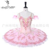 Vuxen Professionell Ballett Tutus Cream Pink Platter Performance Fairy Doll Pannkaka Tutus Kvinnor Klassisk Ballett Stage Kostymer BT9055