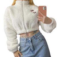 Women's Jackets Girls Lapel Zipper Midriff-baring Cardigan Autumn Ladies Cartoon Animal Pattern Long Sleeve Fluffy Tops Casual Outwear