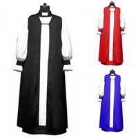 Etnische kleding Heren Chimere en Rochet Set Kerk Kostuum Lange Mouw Slanke Clerggy Tuniek Katoen Cassocks Stand Collar Tradition Priest Robe