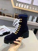 Botas para mujer Ankl Botas Chunky Tacón 6 cm Material de tela de cuero Flores de goma de cuero Caballo redondo Lace Up No resbalón Manténgase caliente con las zapatos de alta calidad