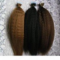 테이프 인간의 머리카락 확장 이탈리아어 굵은 yaki 40pcs kinky 직선 스킨 웨스트 원활한 머리 확장 샘플 살롱 머리 검사를위한
