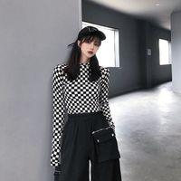 Deepown Kafes Kadın Tişörtleri Sonbahar Moda Seksi Kadın Kore Tarzı Baskı T Gömlek Kpop Streetwear Ince Uzun Kollu 210224