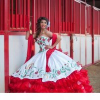 Mexican Embroidery Quinceanera Dresses White And Red Corset Back Sweet 16 Dress 2020 Princess Tiered Organza Ball Gown Prom Dresses Cheap