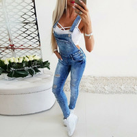 New 022101 Fashion Ladies Ripped Jeans Jumpsuits Lmitation Old Jeans Bib Overalls Ladies Suspenders Denim Trousers S-3XL