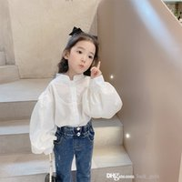 Fashion baby girls Autumn princess shirt children single breasted puff sleeve blouse 2021 white kids all-matching tops girl clothes 0S1442