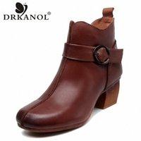 DRKANOL Handmade Echtes Leder Frauen Knöchelstiefel Vintage High Heels Stiefel Winter Seite Reißverschluss dicke Ferse Schuhe Frau Y9m2 #