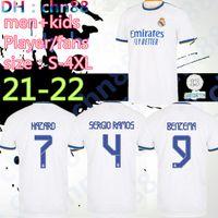 2021 2022 Größe: S-4XL-Spieler Fans Real Madrid Fussball Jersey 21 22 Alaba Hazard Sergio Ramos Benzema Asensio Modric Marcelo Patch Fussball Shirts Camiseta Männer + Kinder