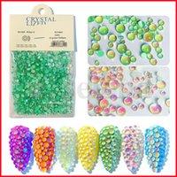 1440 adet / torba 10 Renk Mermaid Yuvarlak Boncuk Nail Art Jöle Reçine Kristal Rhinestones Flatback Süper Glitter Çivi Süslemeleri Strass Düğün Dekorasyon Boncuk