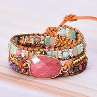 Beaded, Strands Pulsera de cuero Pulsera con piedras Multi Color Beads Natural Declaración de tejido de cristal Regalos de arte