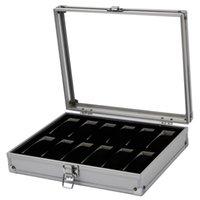 Wholesale-Professionnel 12 Slots Grid Slots Watches d'affichage Storage Boîte carré Étui en aluminium daim à l'intérieur du conteneur Nouvelle vente chaude 173 Q2