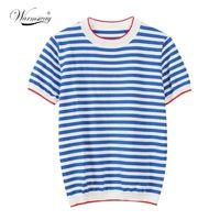 Chaudsway mince tricoté T-shirt Femmes Vêtements 2021 Summer Femme Tees à manches longues Tops T-shirt occasionnel à rayures Femme B-019 210310