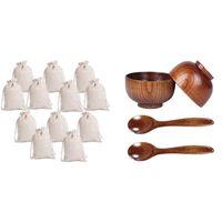 Regalo Wrap AFBC 12 unids Pequeñas bolsas de cordón de algodón Muslin Paño Bolsa de caramelo 1 Conjunto de cucharas de madera Conjunto de tazón, cubiertos de madera hechos a mano
