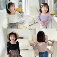 Летние маленькие девочки ребристые футболки осенью пустой пустой рукав хлопчатобумажная мода оркестра одежда зима падение топ 2-7 лет