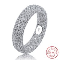 Best Quality Real 925 Sterling Silver Stamp Ring Full Iced Out Cubic Zirconia Mens Women Engagement Rings Charm Jewelry For Gifts