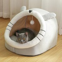 Cat Beds & Furniture Autumn And Winter House Mat Soft Plush Kennel Villa Small Dog Enclosed Warm Sleeping Bag Pet Supplies