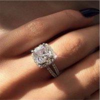 Vecalon Sparkling Promise Кольцо 925 Стерлингового серебра Стерлинговые Подушки Отрежьте 3CT Diamond Обручальные кольца Для Женщин Ювелирные Изделия Подарок