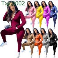 Frauen Trainingsanzüge Zwei Teile Set Deisgner Herbst Reißverschluss Langarm Jacke Leggings Outfits Solid Color Plus Größe 9 Farben