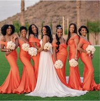 2021 African Orange Off Shoulder Mermaid Bridesmaid Dresses Women Long Wedding Party Dress Customize Robe De Soiree De Mariage Plus Size Sweep Train Elastic Satin