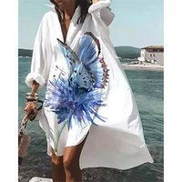 Casual Dresses Women Summer Fall Boho Floral Mini Shirt Dress 2021 Flowy Swing Beach V-Neck Button Up Loose Sundress