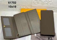 2021 Emilie Wallet Designer Botón para mujer Tarjeta larga Tarjeta Bolsa Bolsa Redonda Monedero Monedero Marrón Impermeable Canvas Alta Calidad M60697
