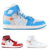 أحدث قبالة أصيلة 1 عالية und في الهواء الطلق أحذية الرجال النساء مسحوق الأبيض جامعة الأزرق مخروط مخروط أسود أحمر شيكاغو مع مربع أحذية رياضية