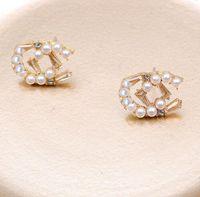 20colors 18k chapado en oro de las marcas de las letras Stud Pendientes de la marca Charm Charm Women Silver Crystal Rhinestone Pearl Pendiente para el boda Party Jewerlry Accesorios