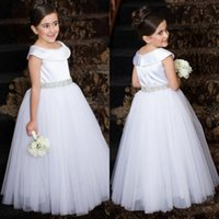 Flower Girls Dresses For Weddings Ivory White Crystal Belt Scoop Neck Tulle Long Party Princess Children Girl Pageant Gowns