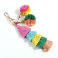 Fashion Candy Color Pompoms Tassel Keychain Fur Ball Key Chain Pompom Fluffy Bag Accessories Keyring