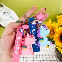 Silikon Unicorn Anahtar Zincirleri Charm Anahtarlıklar Hediyeler Yeni Kayış Gökkuşağı Karikatür Kolye Çanta Anahtarlıklar Aksesuarları Moda Sevimli Araba Tuşları Tutucu