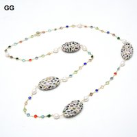 """44"""" Natural Cultured White Rice Pearl Real Tourmaline Cz Pave Colorful Crystal Chain Long Necklace Handmade For Women"""