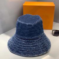 Moda Monogram Erkek ve Kadın Yıkanmış Denim Kova Şapka Beyzbol Şapkası Golf Şapka Snapback Beanie Kafatası Caps Stingy Brim En Kaliteli Casquette