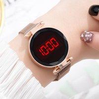 Relojes de pulsera 2021 Moda casual banda de malla mujer reloj LED pantalla deportiva relogio masculino lleno de acero inoxidable reloj masculino regalo