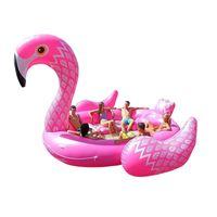 Plaj 6-7 Kişi Şişme Dev Pembe Flamingo Havuz Şamandıra Büyük Göl Yüzer Unicorn Tavuskuşu Adası Su Oyuncakları Yüzmek Eğlenceli Raft