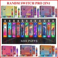 R 및 M 스위치 프로 3200 퍼프 2 일회용 장치 전자 담배 키트 10ml 포드 Randm vape 펜 RGB 빛 12 색