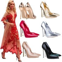 Designer- Plus size nude patent leather metal thin heel shoes women office shoes work shoes size 33 34 to 40 41 42 43