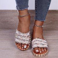 Slippers Pearl Women's Beach Sandals Slip-on Open Toe Soft Fashion Women Casual Plus Size Comfortable Female Sliders