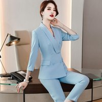 Elegant Blue Spring Fall Formal Uniform Designs Pantsuits St...