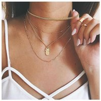 Pendants ROMAD Gold Color Lovely Pineapple Pattern Pendant Chain Charms For Bracelets DIY Simple Necklace Accessories Girl Statement R4