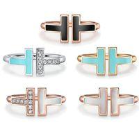 5 färger Designer TIFF 925 Silver Alloy Open Band Ringar Märke Klassisk Mor-of-Pearl Double T Ring för Kvinnor Bröllopsfest Smycken