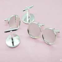 300PCS ufflink Settings Trays (Silver Plated) Copper French Blanks Sets Cufflinks backs for Cabochons