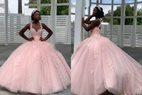 Elegant Pink African Quinceanera Prom Dresses Ball Gown Sheer Neck Keyhole Back 3D Floral Flowers Tulle Applique Long Evening party dress Vestidos 15 Anos