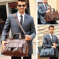Homens couro preto pasta Business Bolsa Messenger Messenger Masculino Vintage Bolsa de Ombro Homens Sacos de Viagem Laptop