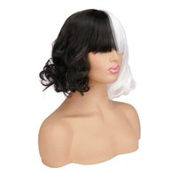 new movie Cruella Wig Short s for Halloween Cosplay Women Black White Synthetic Hair + Cap Y0913