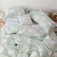 Bunny bianco coniglio rosa piumino copripiumino set cotone biancheria da letto di cotone Twin Queen King Sheet flot lenzuolo in lamiera biancheria da letto a 250 s2