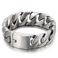 Link, Chain 20mm Heavy Punk Vintage Men Brushed Matte Biker Bracelets Hiphop Stainless Steel Curb Cuban Link Bracelet Bangle Jewelry